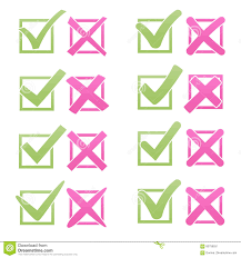 Pink Flat Color Mark X And V Over Check Box Flat Style Soft Color Green Hooks