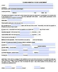free florida month to month lease agreement pdf word doc