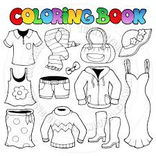 cartoon coloring book clothes theme by clairev toon vectors eps