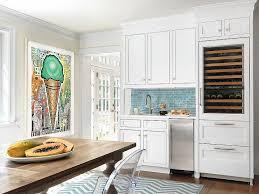 Beach Cottage Kitchen by Beach Cottage Kitchen With Linear Blue Glass Tiles Cottage Kitchen