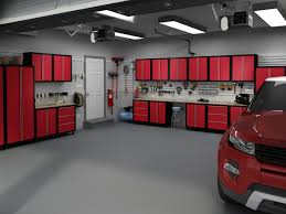 red bold series steel welded garage cabinets scene with grey