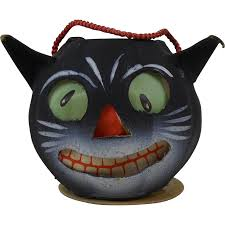 small 1940 u0027s halloween grinning black cat paper jack o lantern