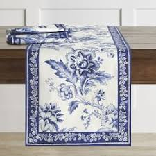 blue and white table runner table runners williams sonoma