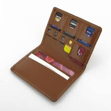 memory sd micro sd sim card leather wallet case brown pdair