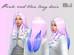 sims 4 blue hair pink and blue long hair the sims 4 catalog