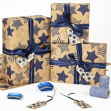 recycled christmas wrapping paper recycled blue brown wrapping paper by
