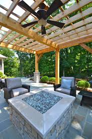 Firepit Glass Outdoor Contemporary Patio With Pergola And Awesome Glass Rocks