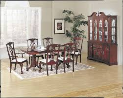 chippendale cherry finish double pedestal dining table set lowest