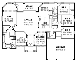 4 bedroom house floor plan 1 story house plans