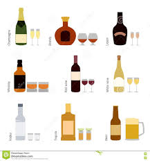 alcohol vector drink flat icons alcohol and beer wine bottles stock vector