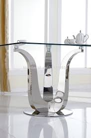stainless steel dining table elegant tempered glass dining table