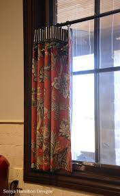 Sewing Cafe Curtains Kitchen Cafe Curtain A Bold Fabric Combination And A Mud Bench