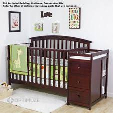 Cheap Convertible Crib On Me Niko 5 In 1 Convertible Crib With Changer Cherry Ebay