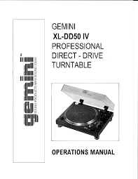 gemini turntable xl dd50 iv e user guide manualsonline com