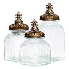 fleur de lis kitchen canisters decmode glass 3 canister set with polystone fleur de lis and