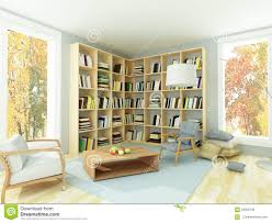 light cozy room with bookshelves and armchairs stock illustration