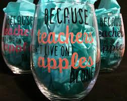 teacher wine glass etsy