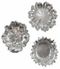 Wall Flower Decor by Amazon Com Uttermost Silver Flowers Home Decor Set Of 3 Home