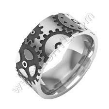 gear wedding ring silver gear ring gear band ring steunk jewelry mens ring