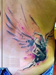 watercolor cool realistic angel tattoo on lower back golfian com