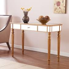 Sofa Tables With Drawers by Southern Enterprises Fred Champagne Gold Mirrored Console Table