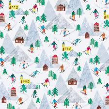 trounce on the slopes wrapping paper gift wrap