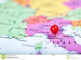 Italy On Map Red Push Pin On Map Of Italy Stock Photo Image 47255044