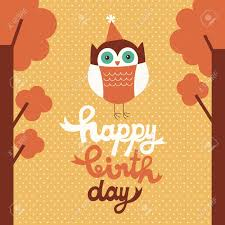 happy owl birthday card design royalty free cliparts vectors