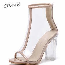 gtime pvc clear heel transparent shoe peep toe ankle boots bootie