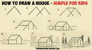 how to draw a simple house with geometric shapes easy step by step