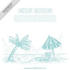 beach sketch background with umbrella and palm tree vector free