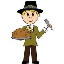 turkey clipart image boy pilgrim with a turkey dinner on
