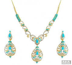 stone turquoise necklace images 22k turquoise stones necklace set ajns56524 22kt stunning gold jpg