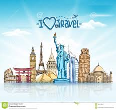 Travel And Tourism images Travel and tourism background with famous world landmarks stock jpg