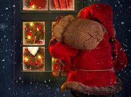 winter holiday snow house window merry christmas santa claus
