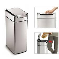 poubelle cuisine rectangulaire poubelle rectangulaire touch bar slim 40l simplehuman kookit