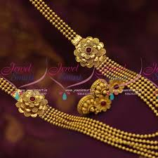 bead design jewelry necklace images Nl7012 floral mugappu multi layered gundla mala beads design JPG