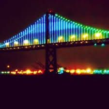 Bay Bridge Lights City America Usa States Bridges Night Road Roads Ocean