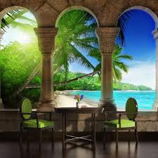 tropical sea sand beach art photo wallpaper wall mural room paradise beach view through arches photo wallpaper wall mural cn 772p