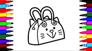 how to draw and color kitty bag l handbag for kids coloring pages
