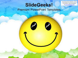 smiley face over cloudy background powerpoint templates ppt