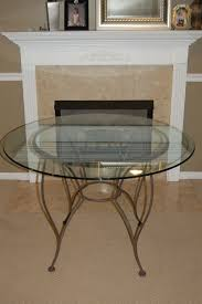 for sale glass top round table with wrought iron base