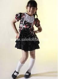 black floral short sleeves cotton kids dress salelolita com