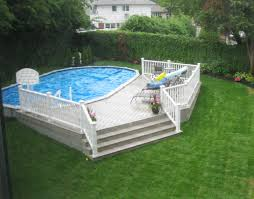 Backyard Landscaping With Pool by Best 25 Semi Inground Pools Ideas On Pinterest Semi Inground
