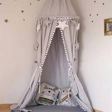 Pink Canopy Bed Nordic Style Nursery Playroom Decor Canopy White Pink Grey Hanging