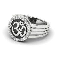 men ring buy the om men ring in 10k white gold with ij si diamonds