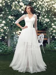 turmec long sleeve v neck wedding dress