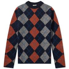 acne studios newton it argyle knit navy end