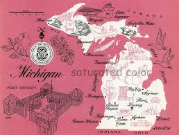 native plants of michigan michigan map vintage colorful illustrated map of michigan