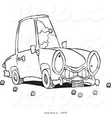 vector cartoon car cracked windshield coloring